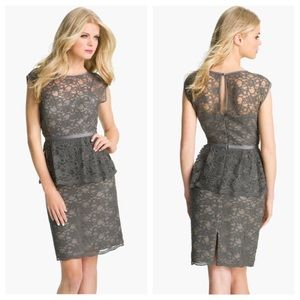 ELIZA J Gray Peplum Lace Overlay Sheath Dress VGUC